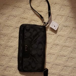 Coach black/gray wrist wallet